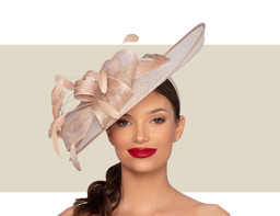 MARGOT FASCINATOR HAT - Almond and Ivory