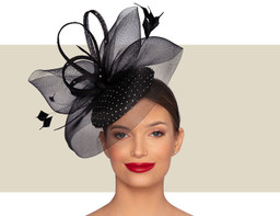 GEORGINE CRYSTAL FASCINATOR HAT - Black
