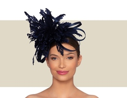 ASTER WOMENS FLOWER FASCINATOR - Navy Blue