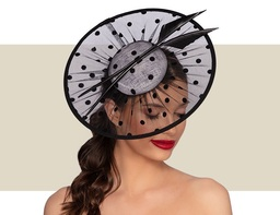 CARLOTTA WOMENS HEADPIECE - Ivory and Black