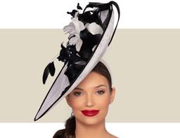 VITTORIA FASCINATOR HAT - Ivory and Black