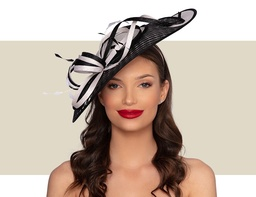 ILARIA FASCINATOR HAT - Ivory and Black