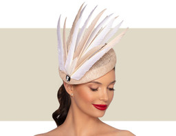 CELINE COCKTAIL HAT - Natural and Ivory