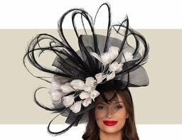 GINEVRA FASCINATOR HAT - Black and Ivory