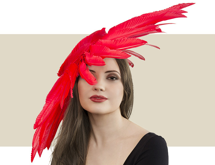 82b1998a2a61a Red Couture Headpiece Fascinator Hat with Giant Feather