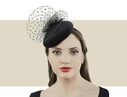 Jane Taylor London Eleanor black velvet cocktail hat for winter