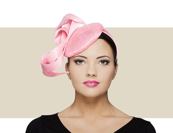 Pink Fancy Beret Fascinator Hat with Sinamay   Buntal Side f391aa08124