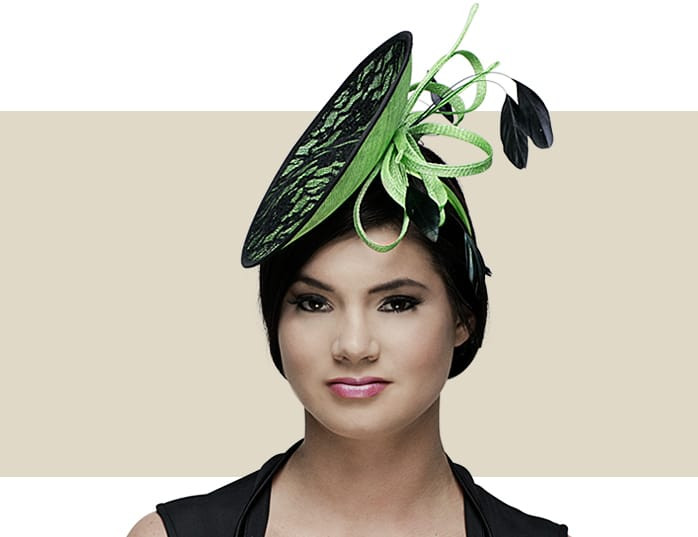 Georgina Lime Green   Black Sinamay Disc Fascinator Hat eb3c6a06a4c5