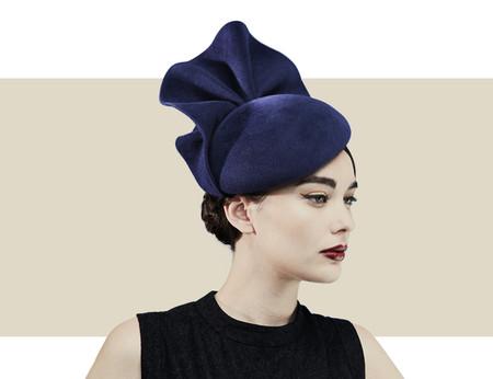 Gina Foster Imperial navy blue fur felt beret for winter