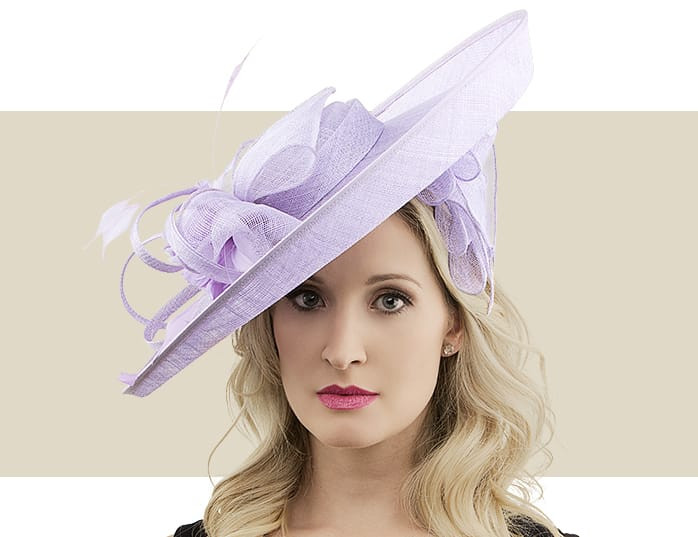 3b7f6455ce3 Jane Wisteria Purple Fascinator Hat with Feather Flower