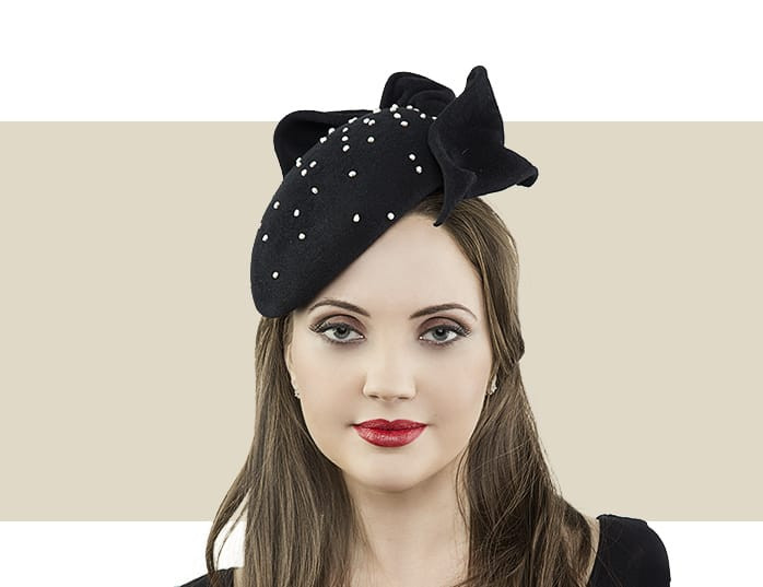 Jane Taylor London Jessica black cocktail hat for winter 487931fa275