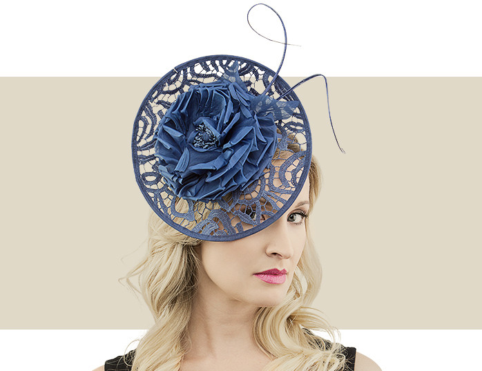 Navy Blue Lace Disc Fascinator Hat with Quill   Flower Detail 72246583845