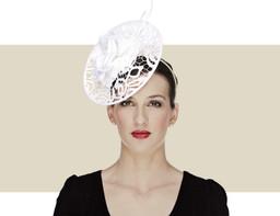 Lace Disc Fascinator Wedding Hat - White