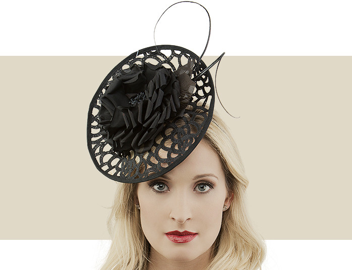 Black Lace Disc Fascinator Hat with Flower   Quill Detail e9a43e1169e
