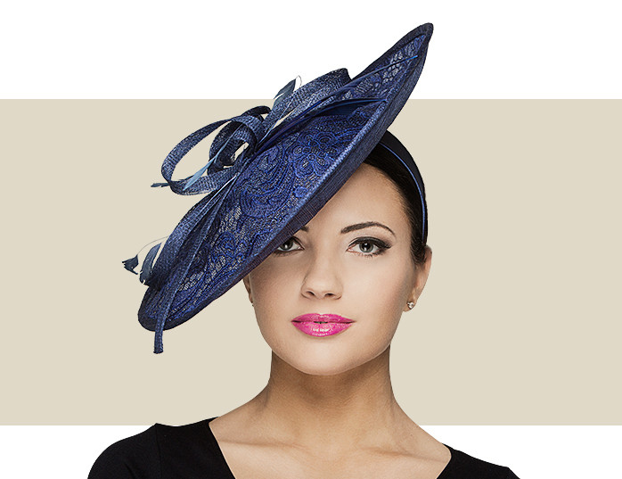 Navy Blue Lace Fascinator Hat with Sinamay Bow   Flower 6bc4213d832