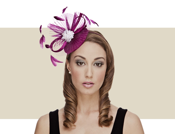 Night at the Opera Grape Sinamay   Feather Fascinator Hat 8ac8d3f1359