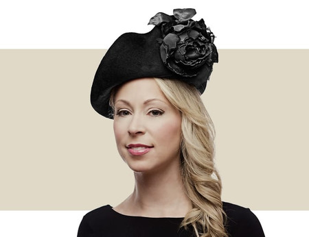 Philip Treacy black Oyster winter hat with flower trim