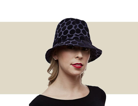 Philip Treacy navy blue pork pie hat for women