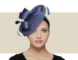 RHINESTONE FASCINATOR HAT - Navy