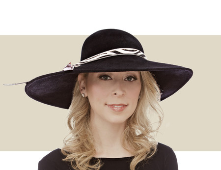 Philip Treacy Structured Wave black wide winter hat