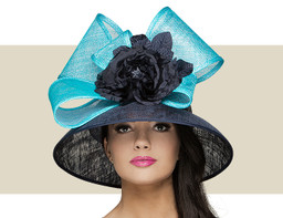 TALL CROWN HAT - Navy with Tiffany Blue