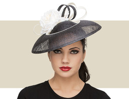 Georgina White   Black Fascinator Hat with Sinamay Trim 7feb2a9364af