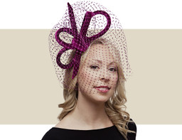 VELVET BOW FASCINATOR - Damson