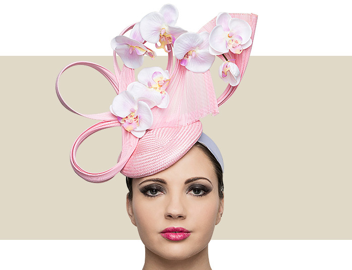 PINK ORCHID BERET - Pink and Ivory - Gold Coast Couture 9ec3cc8b803