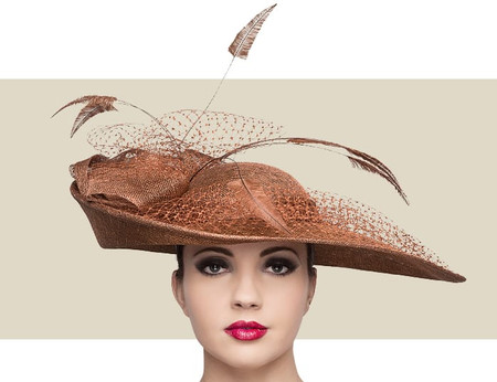 Nigel Rayment custom bronze winter fascinator hat