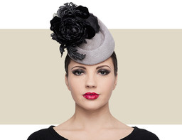 Philip Treacy  Slate Grey and Black Rosette Pillbox Hat