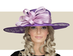 NICO Two Tone Derby Bow Church Hat - Purple with Lilac