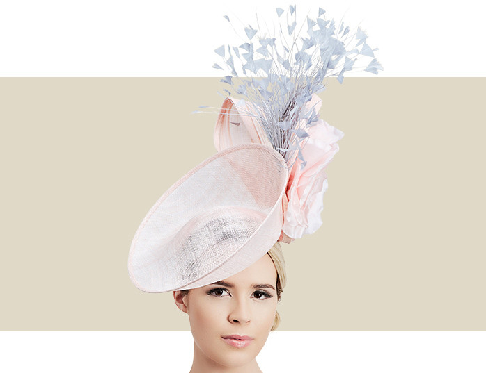 Petal Light Pink Hat for Women with Silver Grey Feathers ce6d8a53cfa