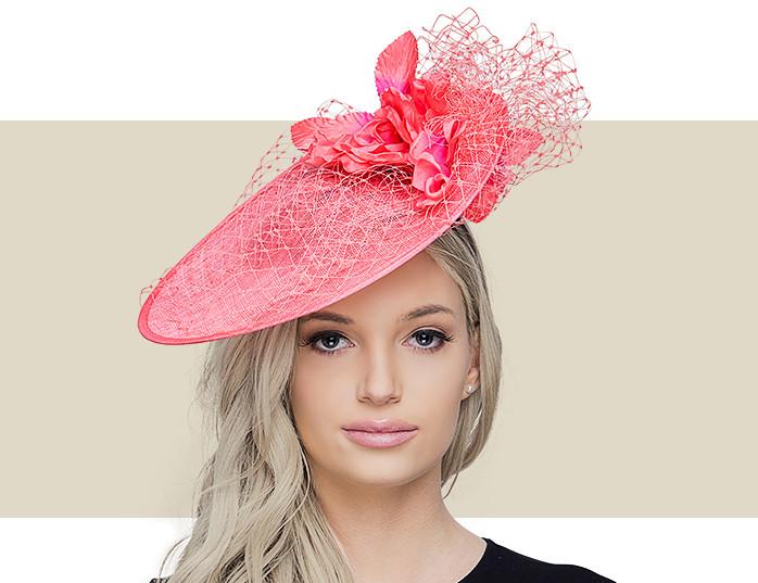 904fac75 Kelsey Orange Sinamay Fascinator Hat with Netting & Flowers