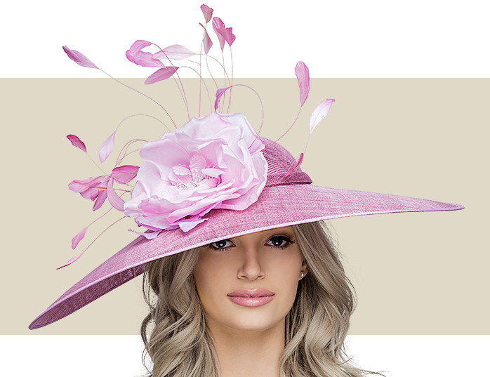 d5e72cfe54f05 Home · Kentucky Derby Hats  WISPY FLOWER - Rose Pink. Image 1