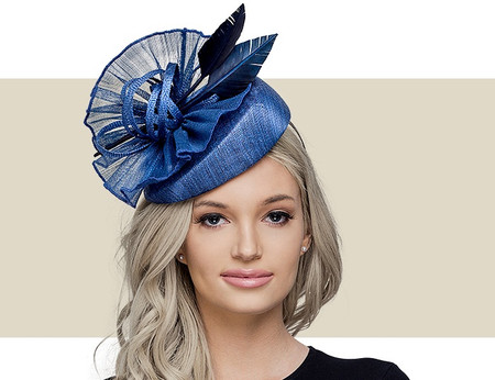 BAMBIE Fascinator Church Hat with Feathers - Navy