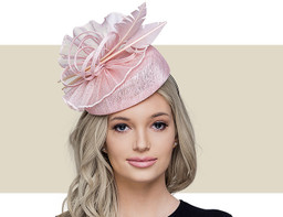 BAMBIE Fascinator Church Hat with Feathers - Blush Pink