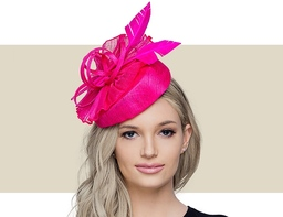 BAMBIE Fascinator Church Hat with Feathers - Hot Pink