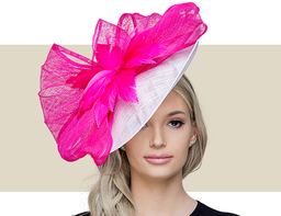 TINA Fascinator Church Hat - White with Hot Pink