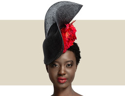 d36a142c55774 SCROLL HEADPIECE - Black with Black Lurex and Red Rosette