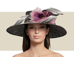 LARGE DOWNTURN HAT - Silver Grey with Purple