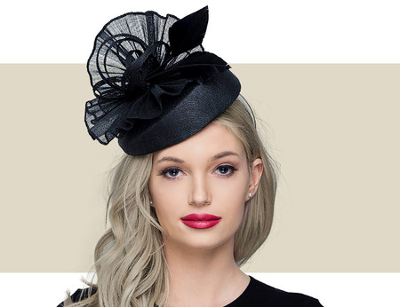 BAMBIE Fascinator Church Hat with Feathers - Black