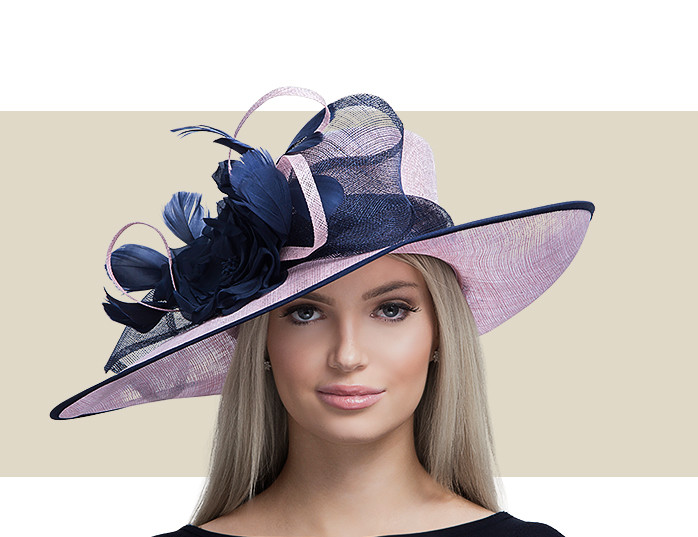 3f4e37d0ad3cc Home · Kentucky Derby Hats  ANNALIESE - Light Pink and Navy. Image 1