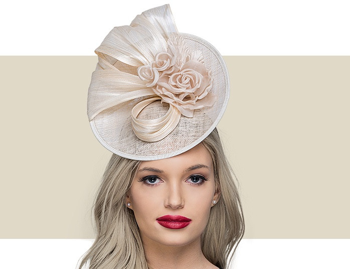 CAMI Coral Sinamay Fascinator Hat with Hot Pink Silk Flower 41923dc7512