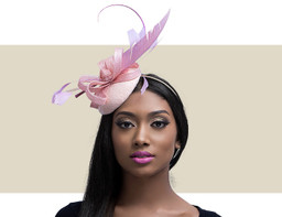 Handblocked Sidebrim Dusky Pink Hat with Flower Trim 39389be0b100