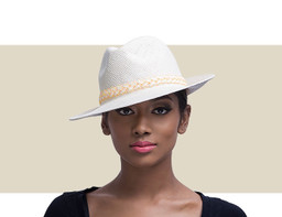 LADIES TRILBY - Ivory and Multi