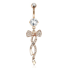 Swirling Ribbon with Paved Gem Navel Jewelry