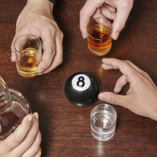 A new take on the old Magic 8 Ball with a booze twist!