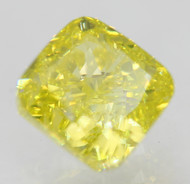 CERTIFIED 0.72 CARAT CANARY YELLOW VVS1 CUSHION NATURAL LOOSE DIAMOND FOR RING 4.71X4.53MM  *360 VIDEO & REAL IMAGES