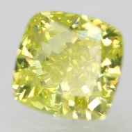 CERTIFIED 0.71 CARAT GREEN YELLOW VVS2 CUSHION NATURAL LOOSE DIAMOND FOR RING 4.85X4.8MM  *360 VIDEO & REAL IMAGES
