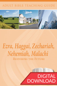 Digital Bible teaching guide with Bible commentary and 2 sets of teaching plans to lead a class on a study of the Books of Ezra, Haggai, Zechariah, Nehemiah, and Malachi. PDF; 200 pages.